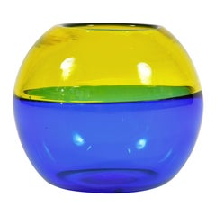 Italian 1950s Blue and Yellow Murano Globe Vase