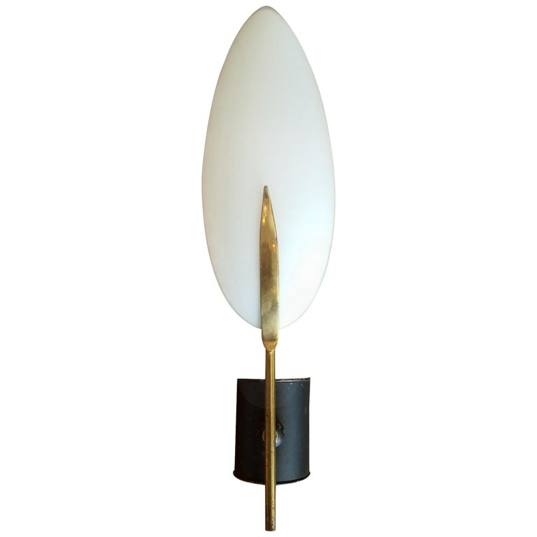 Italian 1950s Brass and Glass Wall Sconce For Sale