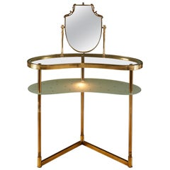 Italian 1950s Brass and 'polka dot' Glass Dressing-Table