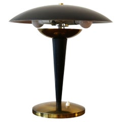 Italian 1950s Brass and Steel Table Light by Oscar Torlasco