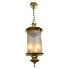 Italian 1950s Brass Lantern with Acid Etched Blown Glass Shade