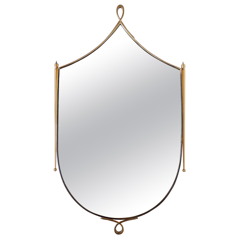 Italian 1950s Brass Wall Mirror