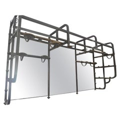 Italian 1950s Cast Iron Theatre Makeup Mirror with Eight Hooks and Six-Light