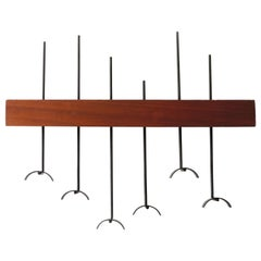 Italian 1950s Coat Rack in Teak and Metal
