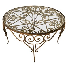 Italian 1950s Decorative Rounded Golden Wrought Iron Crystal Top Coffee Table