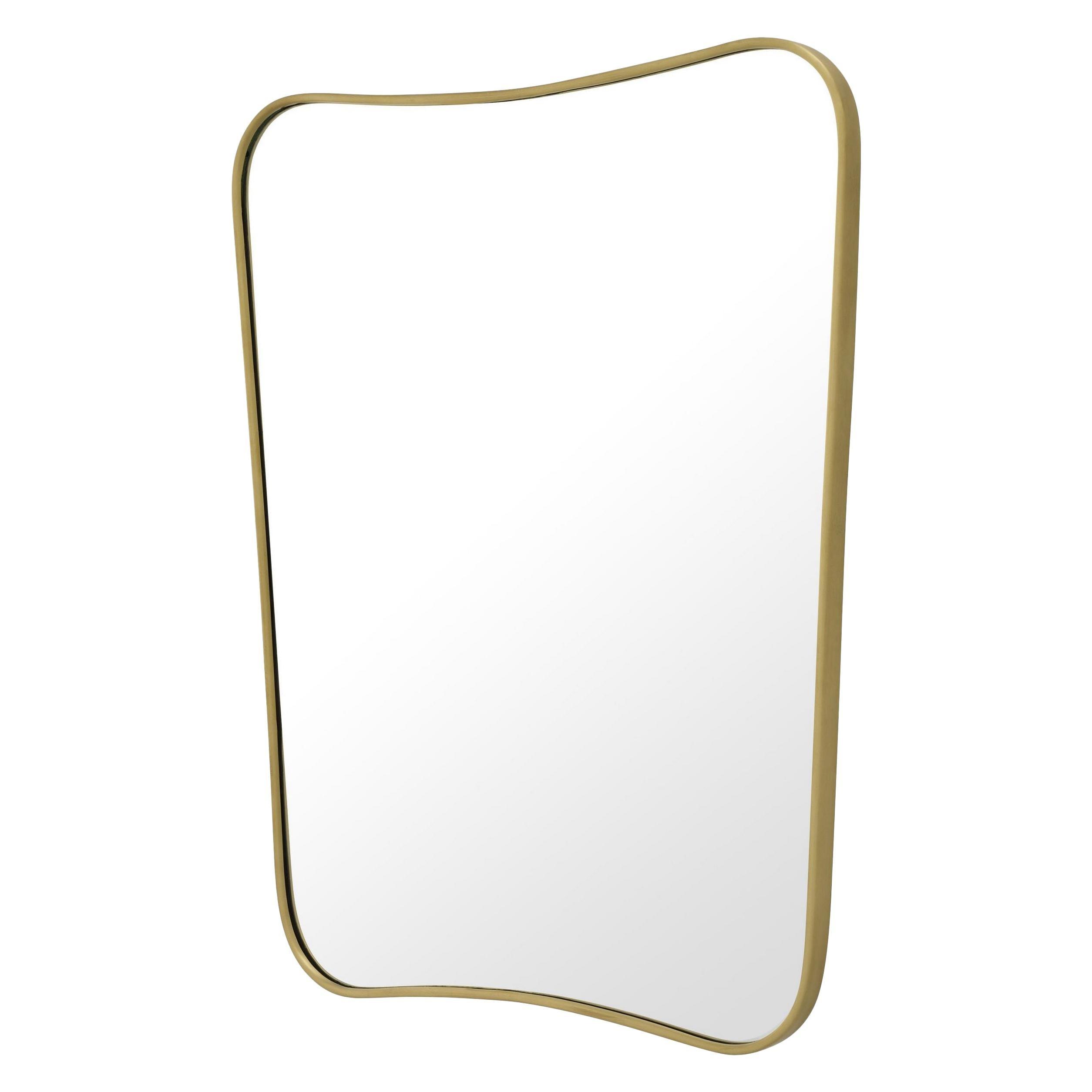 Italian 1950s Design Style Brass Mirror