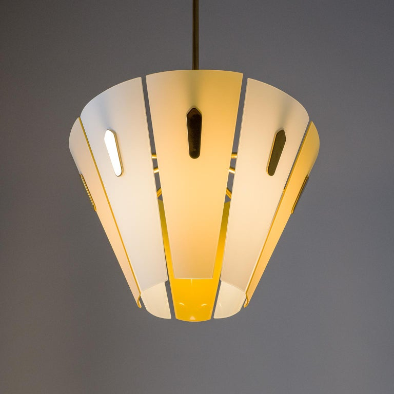 Frosted Italian Dual Color Glass Chandelier, 1950s  For Sale