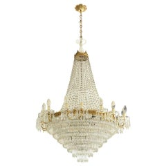 Italian 1950s Empire Style Crystal Drops and Golden Brass Crowns Chandelier
