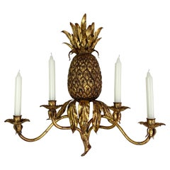 Italian 1950's Gilt Wrought Iron Pineapple Candle Wall Sconce
