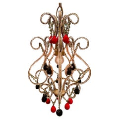 Italian 1950s Hollywood Regency Pendant Light with Venetian Fruits and Beads