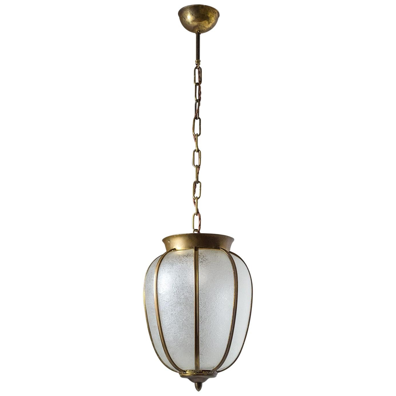 Italian 1950s Lantern, Brass and Textured Glass
