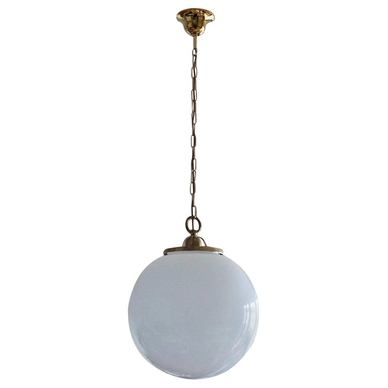 Italian 1950s Large Hand Blown Opaline Glass Pendants
