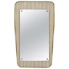 Italian 1950s Mirror, Striped Lacquered Wood and Brass