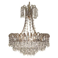 Italian 1950s Opaline Bead and Crystal Fountain Chandelier
