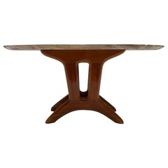 Italian 1950s Organic Carved Walnut and Marble-Top Side Table with Bras Detail