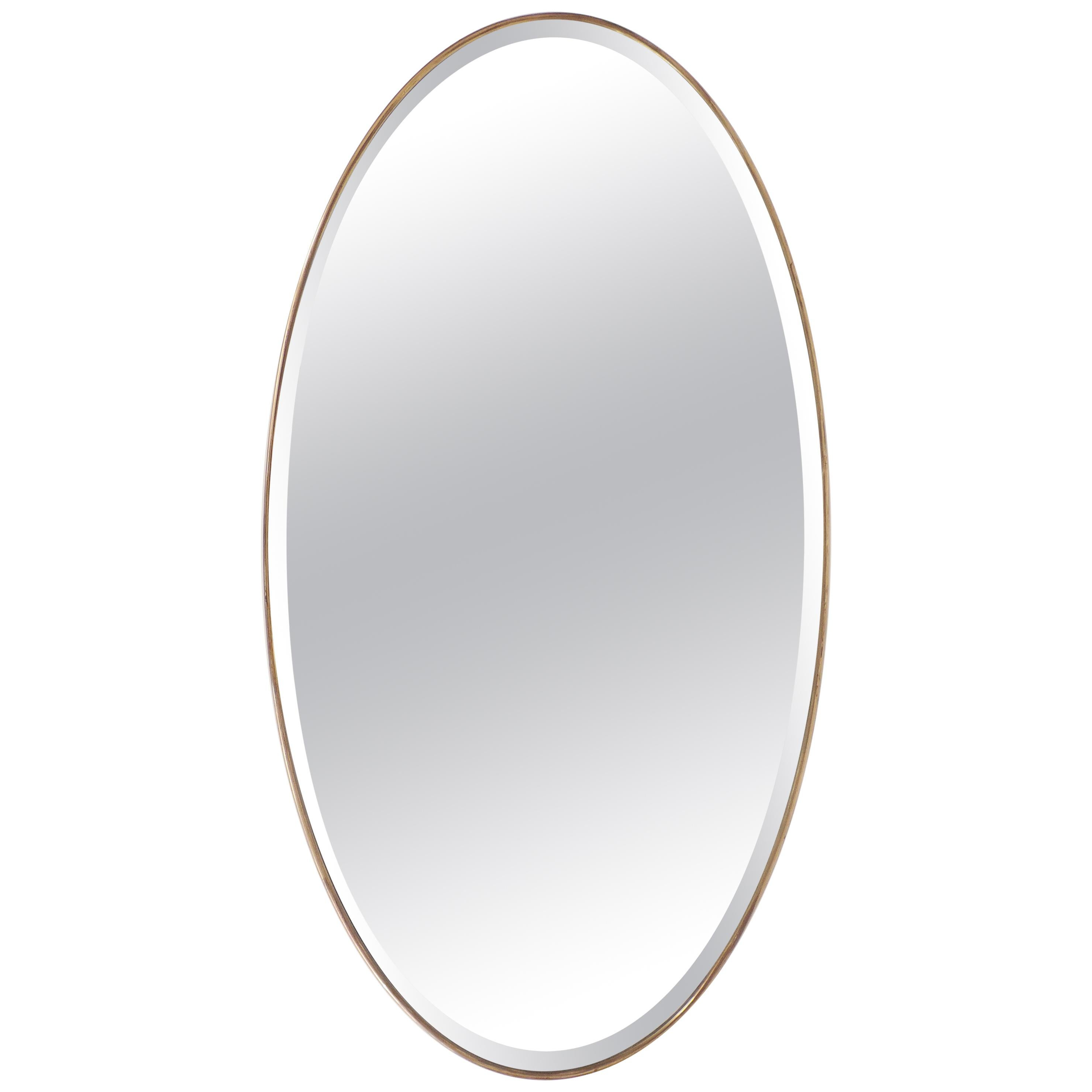 Italian 1950s Oval Brass Framed Glass Mirror