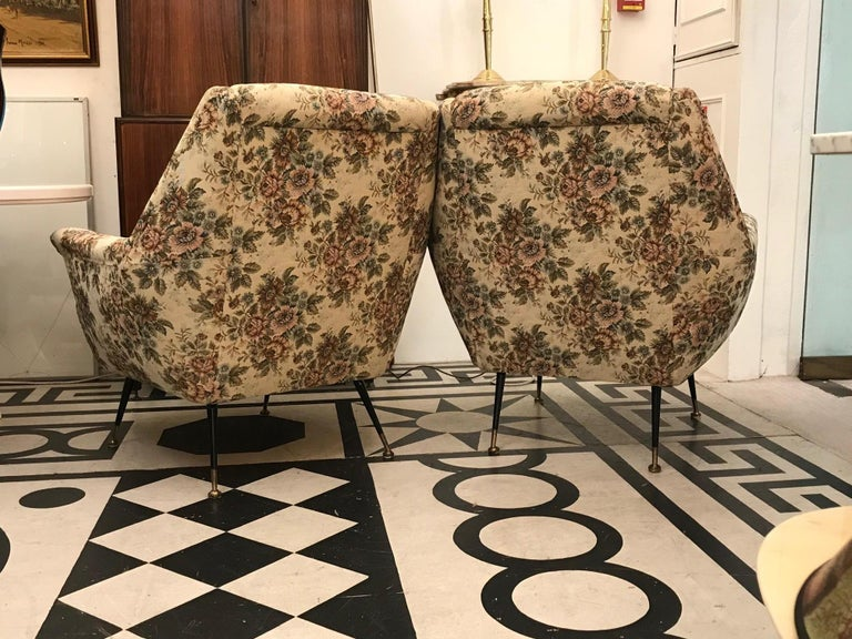 Italian 1950s Pair of Mid-Century Modern Armchairs In Good Condition For Sale In London, GB