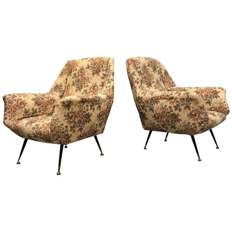 Italian 1950s Pair of Mid-Century Modern Armchairs For Sale