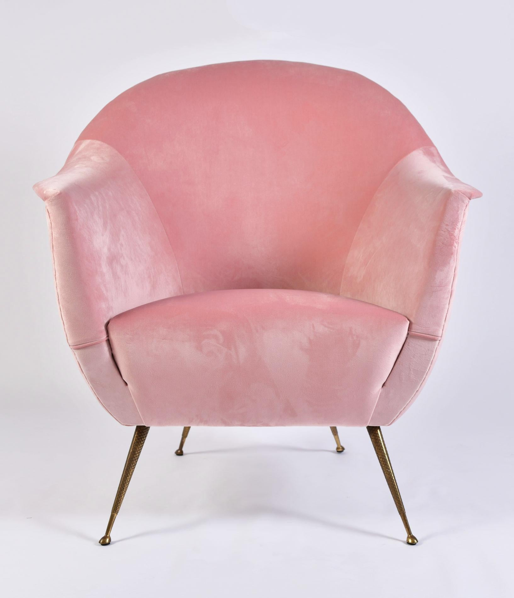 Superbe Luxuriously Shaped Pair Of Midcentury Italian Armchairs Recently  Re Upholstered In Softest Pale Pink Velvet