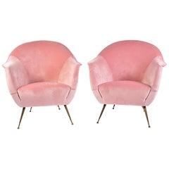 Italian 1950s Pale Pink Velvet Armchairs