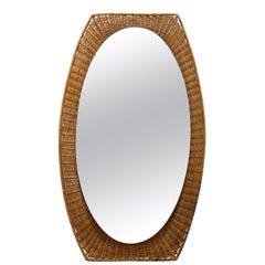 Italian 1950s Rattan Oval Shaped Mirror