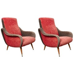 Italian 1950s Red and Grey Ladies Lounge Armchairs