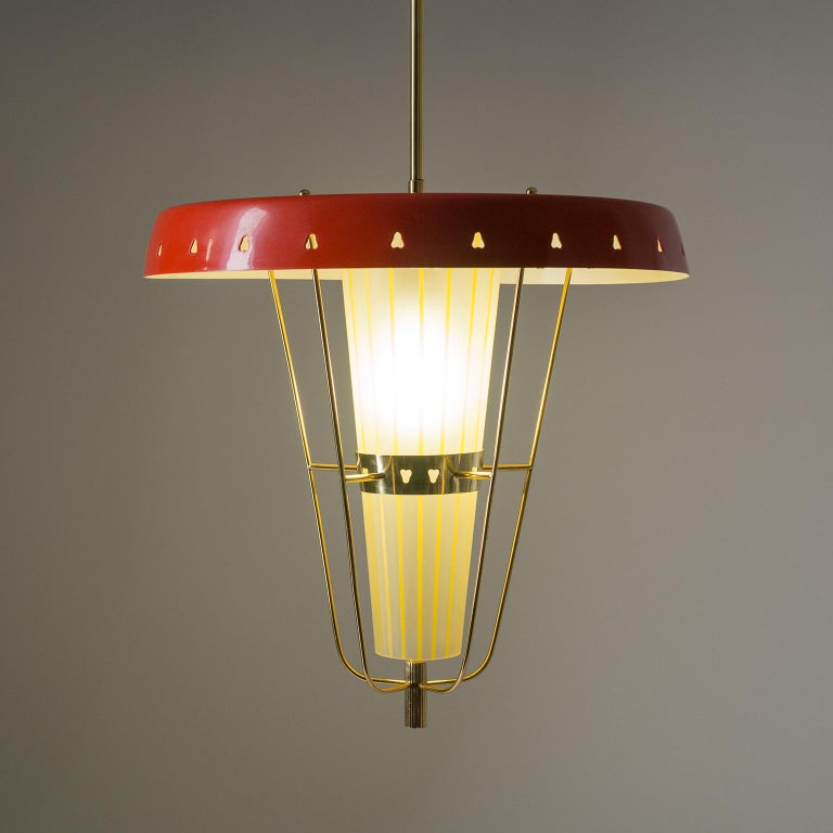 Italian 1950s Red Lantern, Brass and Striped Glass 3