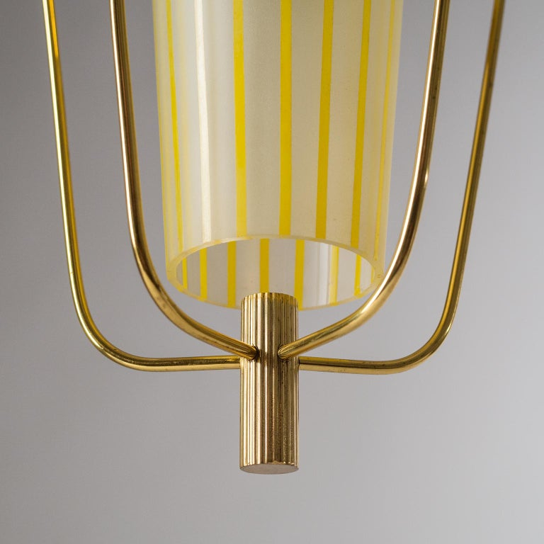 Italian 1950s Red Lantern, Brass and Striped Glass 5