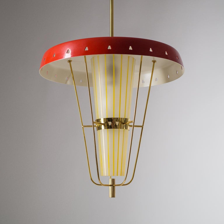 Italian 1950s Red Lantern, Brass and Striped Glass 6
