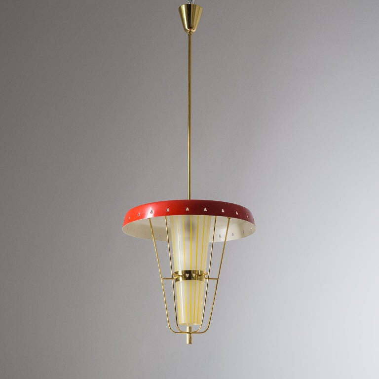 Italian 1950s Red Lantern, Brass and Striped Glass 7