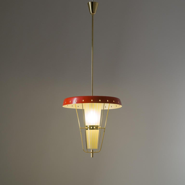 Mid-Century Modern Italian 1950s Red Lantern, Brass and Striped Glass