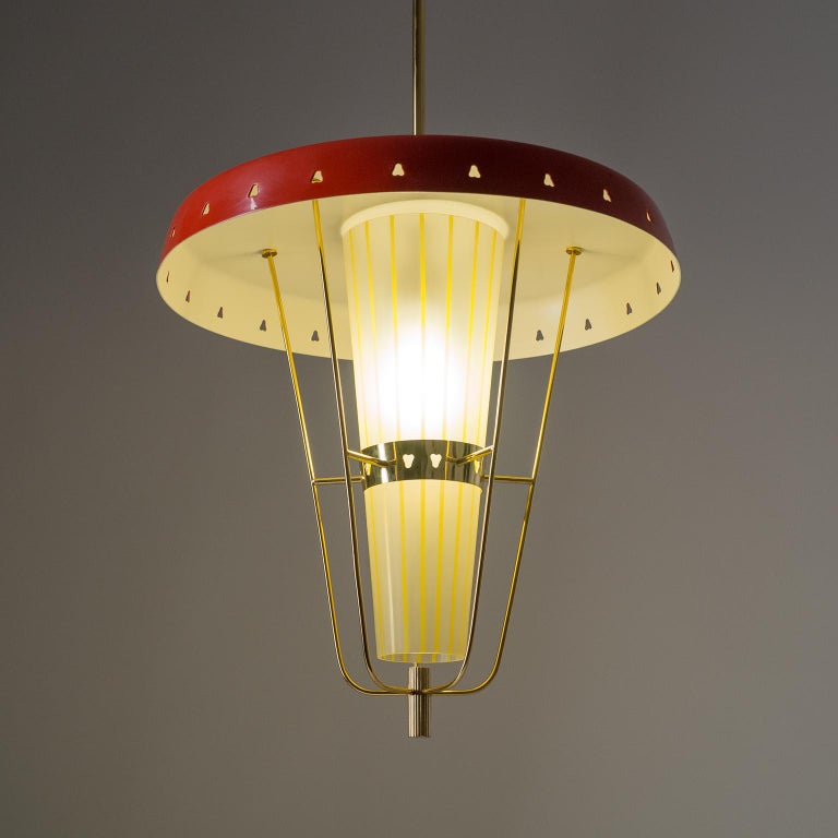 Enameled Italian 1950s Red Lantern, Brass and Striped Glass