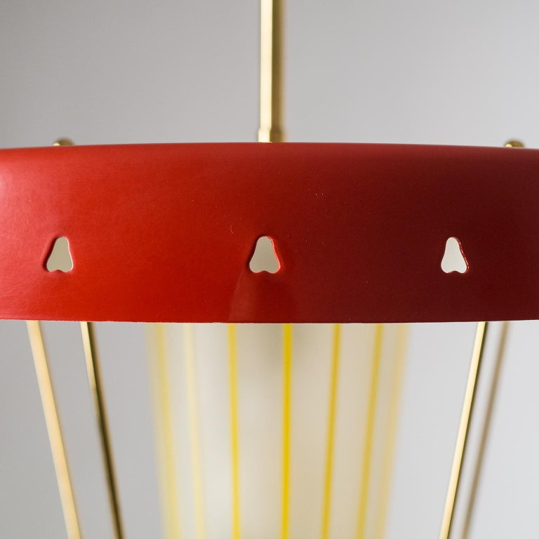 Italian 1950s Red Lantern, Brass and Striped Glass In Good Condition In Vienna, AT