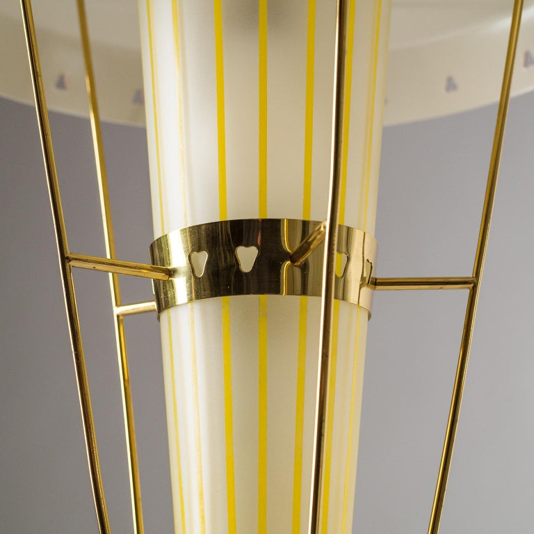 Mid-20th Century Italian 1950s Red Lantern, Brass and Striped Glass