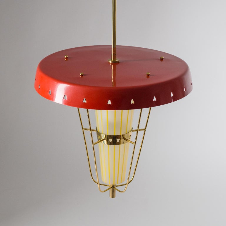 Aluminum Italian 1950s Red Lantern, Brass and Striped Glass