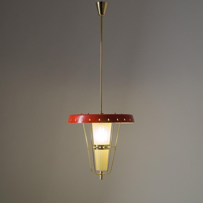 Italian 1950s Red Lantern, Brass and Striped Glass 2
