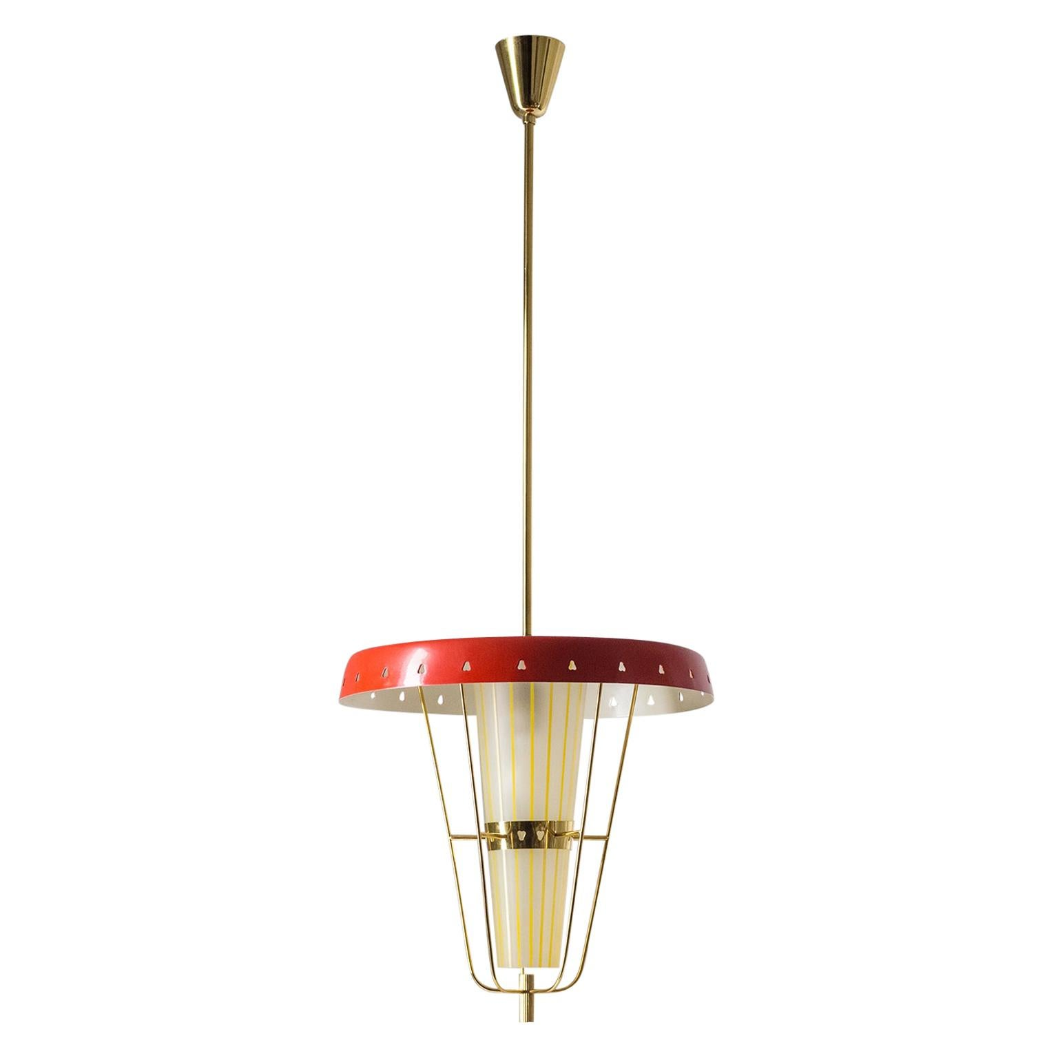 Italian 1950s Red Lantern, Brass and Striped Glass