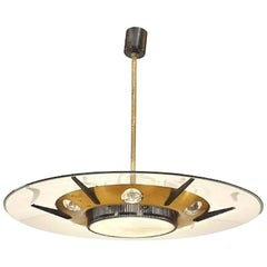 Italian 1950s Round Brass and Ebonized Metal Chandelier