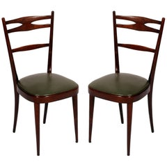 Italian 1950s Side Chairs Carlo di Carli Attributed in Brown Walnut Wax Polished