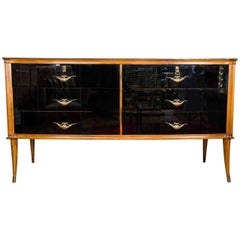 Italian 1950s Black Glass & Walnut Six-Drawer Sideboard with Brass Handles
