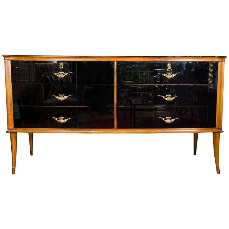 Italian 1950s Black Glass & Walnut Six-Drawer Sideboard with Brass Handles For Sale