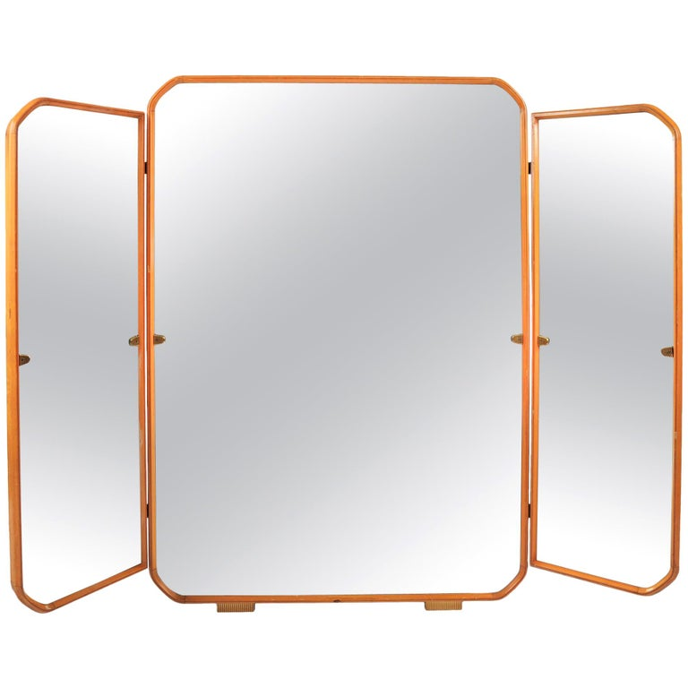 Large Italian, 1950s fruitwood Triptych wall  Mirror For Sale