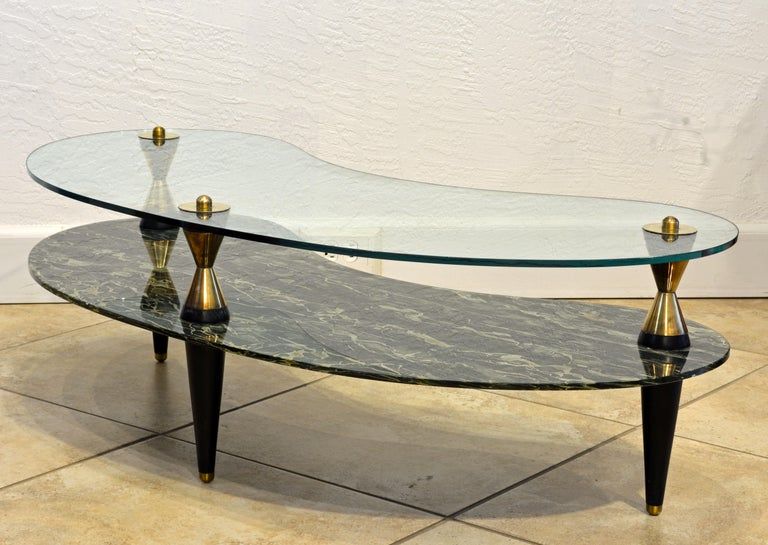 Mid-Century Modern Italian 1950s Two-Tier Kidney Shape Glass Sofa Table with Art Deco Style Legs