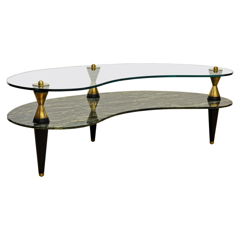 Italian 1950s Two-Tier Kidney Shape Glass Sofa Table with Art Deco Style Legs