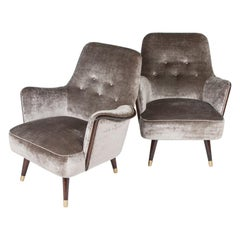 Italian 1950s Velvet Suite Comprising of a Sofa & a Pair of Armchairs