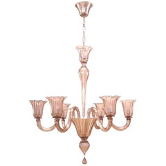 Italian 1950s Venetian Murano Amethyst Colored Six-Arm Chandelier