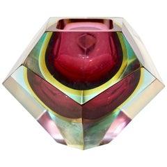 Italian 1950s Vintage Large Red Yellow Aqua Diamond Cut Modern Bowl/Centerpiece
