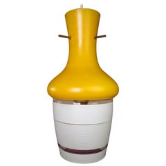 Italian 1950s Yellow And White Glass Pendant