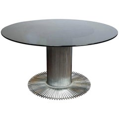 Italian 1955-1960 Chrome and Fume Crystal Top Dining Table by Gastone Rinaldi