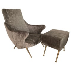 Italian 195os Chair and Ottoman with Brass Legs, Vintage Gray Velvet Upholstery